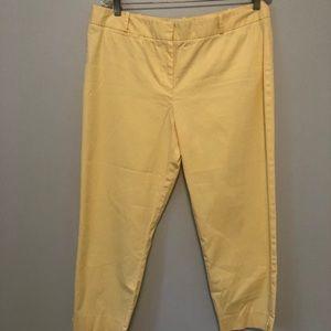 Talbots Yellow Flat Front Pants Size 14 EUC